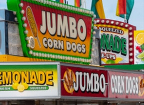 corn dog stand at Rodeo Austin Fairgrounds