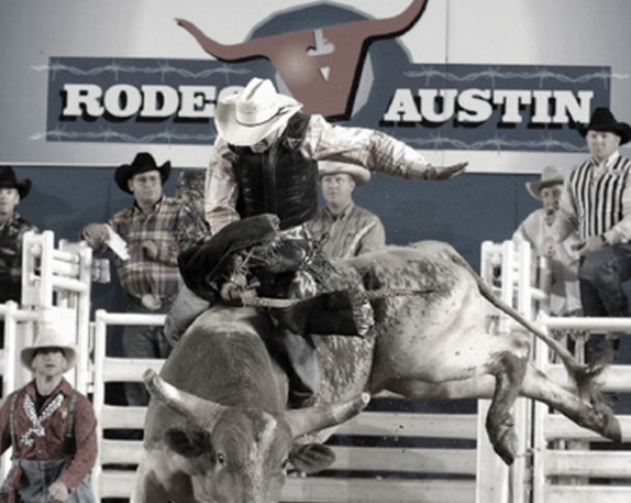 Rodeo Austin bull rider on bucking bull
