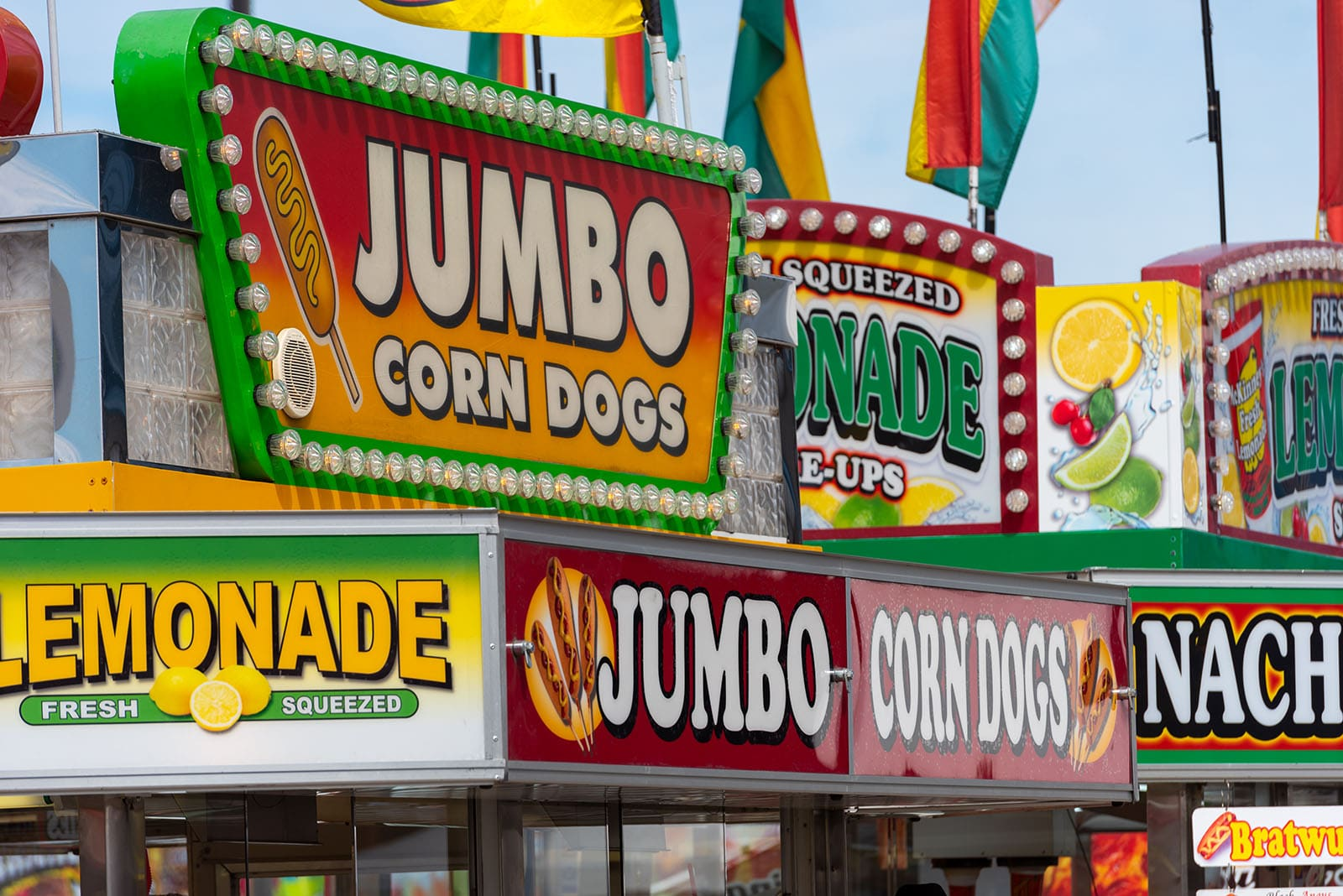 Corndogs and lemonade booths on Chowtown
