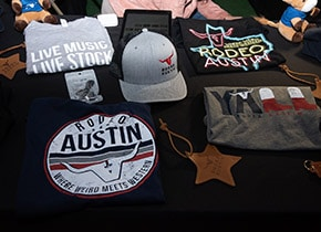 Rodeo Austin gear for sale through the merchandise program.